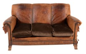 A suite of leather upholstered seat furniture