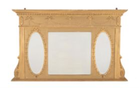 A giltwood and composition overmantel mirror