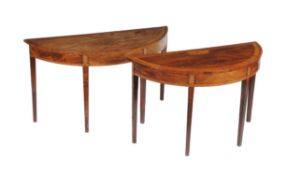 Two George III and later mahogany and satinwood banded side tables