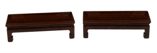 A pair of Chinese hardwood opium tables