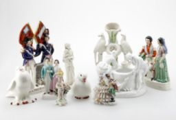 Assorted ceramics including Staffordshire flatback group of Napoleon and Albert
