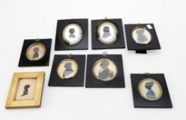 Eight 19th century oval bust profile silhouettes