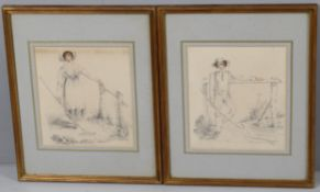 J Burwood (19th Century), pair of watercolours