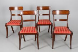 A set of four Regency mahogany dining chairs