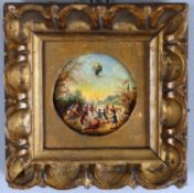 "A 19th century miniature oil on copper depicting the ""Annonay Balloon"""