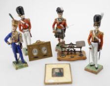 Miscellaneous to include four various modern Continental porcelain models of soldiers
