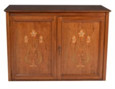 A mahogany and floral marquetry inlaid collector's specimen cabinet