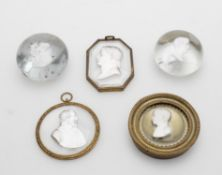 A small collection of sulphide cameo glass cameos