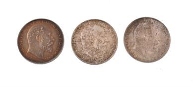 Edward VII, silver Florins (3)