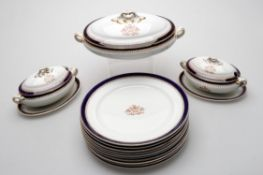 The Worshipful Company of Grocers- part Booths dinner service comprising; ten dinner plates