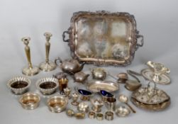 Assorted small silver and silver plate including a French silver small mug and napkin ring