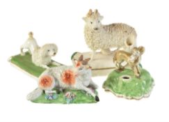 Four various English porcelain models of animals