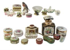 A miscellaneous selection of small items of porcelain and enamel