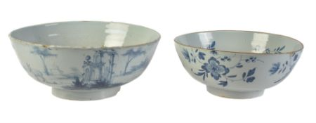 A London delft blue and white punch bowl