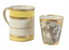 A Chamberlain's Worcester yellow-ground tapered beaker with titled allegorical scene