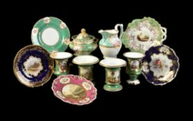 A miscellaneous selection of mostly English rococo revival and later porcelain