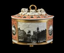 A Chamberlain's Worcester salmon-pink ground and gilt demi-lune bough pot and pierced cover