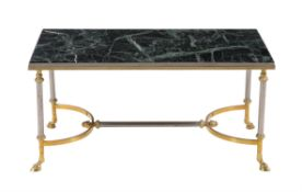 A French Verde Antico marble topped coffee table
