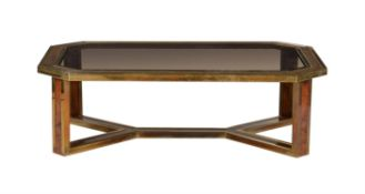 A lacquered brass and walnut and amboyna veneered low occasional table
