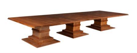 David Linley, a solid English walnut triple pedestal dining table
