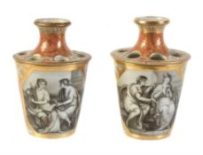 A pair of Chamberlain's Worcester orange-ground and gilt bulb pots and covers