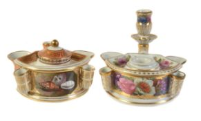 A Worcester (Barr) orange-ground and gilt inkwell and cover painted with panels of shells