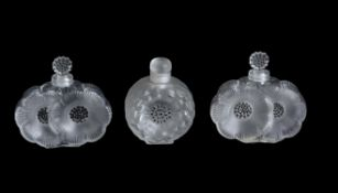 Lalique, Cristal Lalique, Deux Fleurs, a pair of moulded frosted and clear glass scent bottles