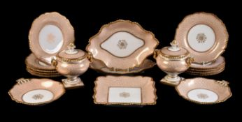 A Worcester (Flight, Barr & Barr) salmon-pink and gilt vermicular ground part dessert service
