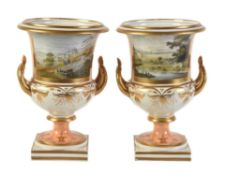 A pair of Grainger's Worcester orange-ground and gilt campana urns