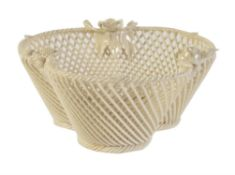 A Belleek porcelain 1st period three-strand 'Shamrock' basket