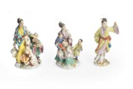 Three Meissen porcelain Chinese figures and groups