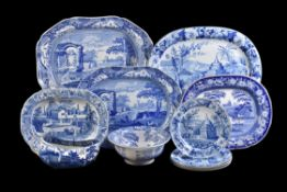 A collection of Staffordshire blue and white printed pottery