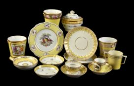 A selection of mostly Worcester yellow-ground porcelain