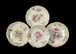 Four various Swansea porcelain 'cruxiform' plates