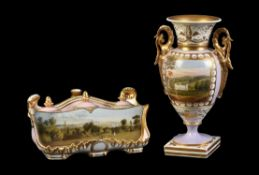 A Chamberlain Worcester salmon-pink ground and gilt inkstand