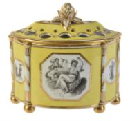 A Chamberlain's Worcester yellow-ground and gilt demi-lune bough pot and pierced cover
