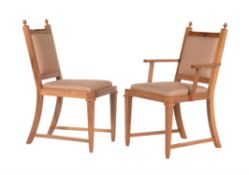 David Linley, a set of eighteen solid English walnut dining chairs