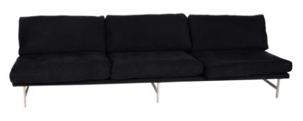 A pair of chrome and upholstered sofas