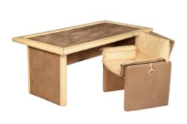 Redwall Linea Safari, a leather and suede covered desk
