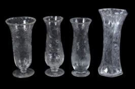 Four various Stourbridge 'Rock Crystal' engraved clear glass vases