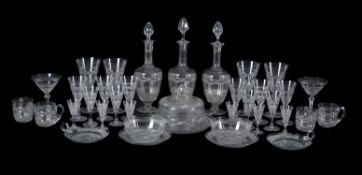 An extensive English cut-glass part table service