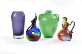 Four items of modern coloured art glass