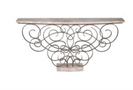 A Hungarian wrought iron and simulated marble console table