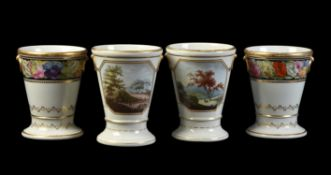 A pair of Worcester (Flight & Barr) flared vases painted with landscape views