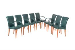 Poltrana Frau, a set of eight green leather dining chairs