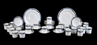 Christofle Paris; four modern boxed and mint 'Iriana bleu' sets of six coffee cups and saucers and a