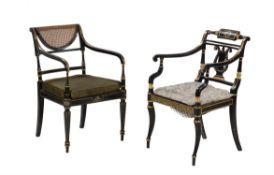Two late George III or Regency ebonised and parcel gilt armchairs