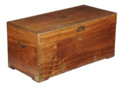 An Anglo-colonial camphor wood and brass bound campaign or sea chest