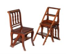 A pair of mahogany and leather inset metamorphic library chairs