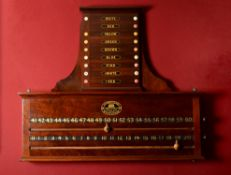 Y A Victorian mahogany and stained ivory mounted Billiards score marker